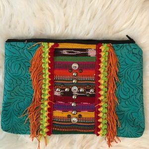 Handbags - Tooled faux leather & Serape cosmetic bag